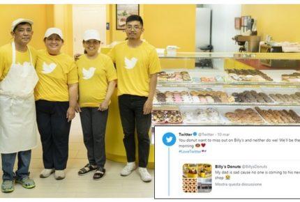 Pubblica su twitter la foto del padre triste nel suo negozio di ciambelle senza clienti. Ed è boom di vendite!