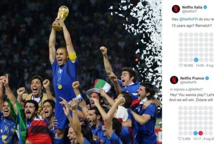 Netflix Italia e Netflix Francia si sfidano a Forza Quattro su twitter per ricordare la finale dei mondiali di calcio 2006