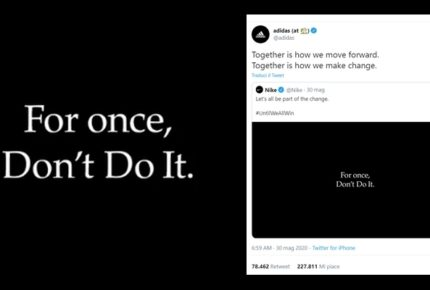 """Nike e Adidas contro il razzismo in memoria di George Floyd: Adidas retwitta il video """"Per una volta non lo fare"""" di Nike"""